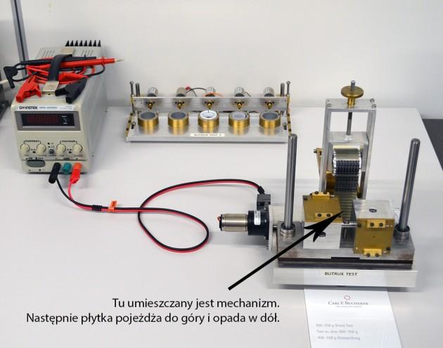 Test mechanizmu - przeciążenia 450 - 550G