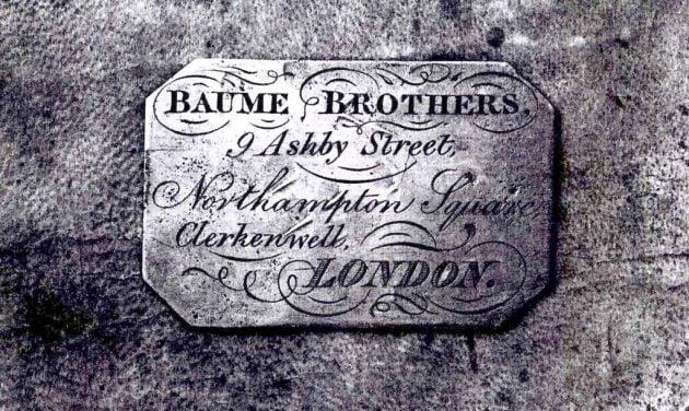 Tabliczka z londyńskiego butiku - rok 1857
