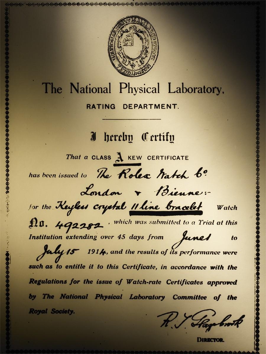 Pierwszy certyfikat potwierdzający klasę A, 1914