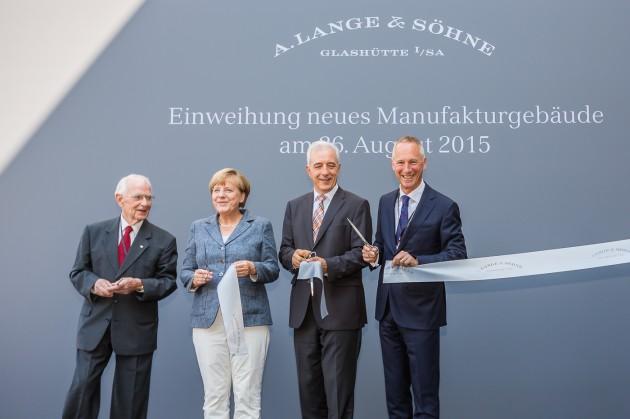 od lewej: Walter Lange, Angela Merkel, Stanislaw Tilich i Wilhelm Schimd