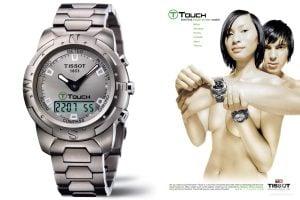 Tissot T-Touch z 1999 roku i reklama z 2000 roku