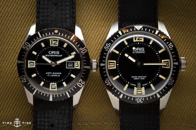 Oris Divers Sixty-Five: oryginał (po lewej) i re-edycja / foto: timeandtidewatches.com