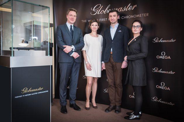 Od lewej: Félix de Rouville (Brand Manager Omega), Emilia Sawicka (PR Manager Omega), Tomasz Kieltyka (CH24.PL), Katarzyna Frankowska (PR Manager Monogram Magazine)