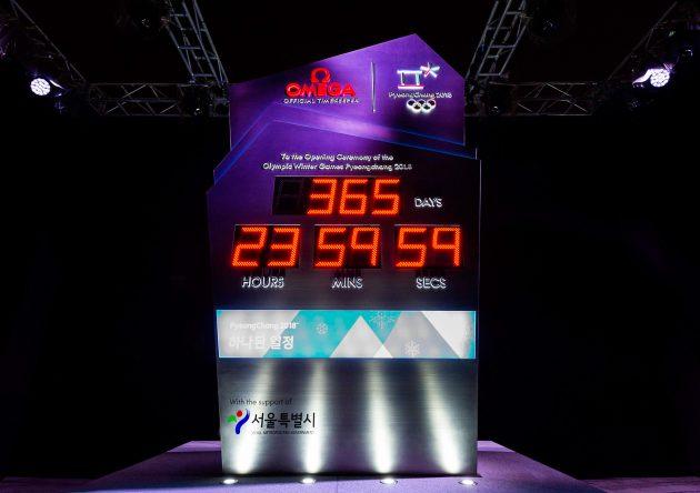Zegar odliczający czas do rozpoczęcia IO w w Pjongczangu