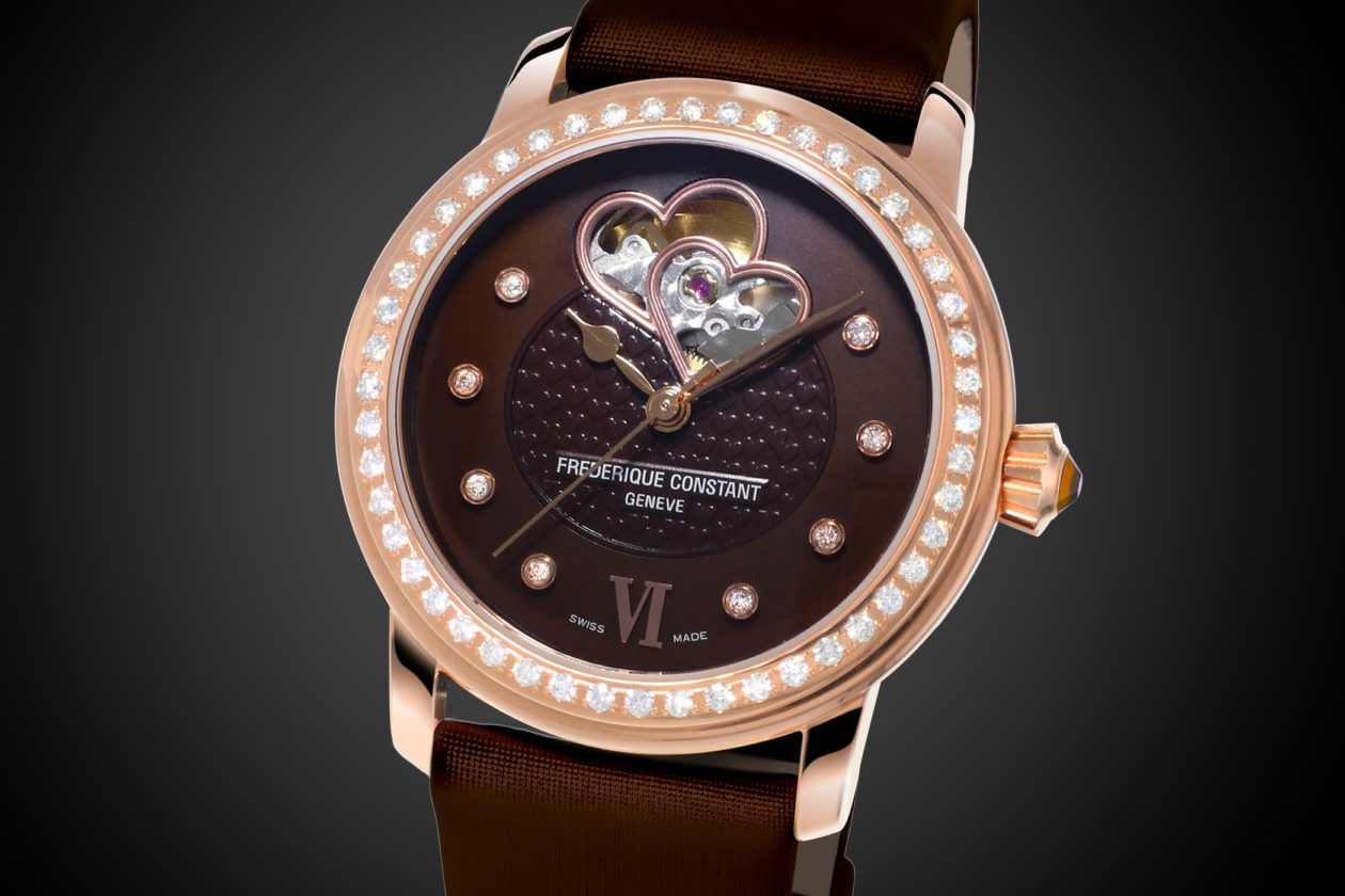 Frederique Constant - Double Heartbeat Chocolate Diamon Pavee