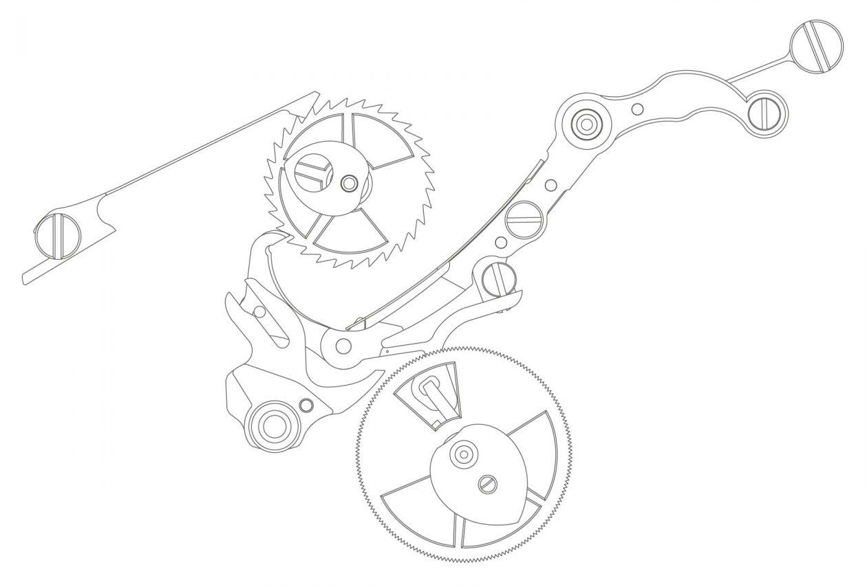 kaliber L951.5 - precyzyjny mechanizm skoku wskazówki minutowej