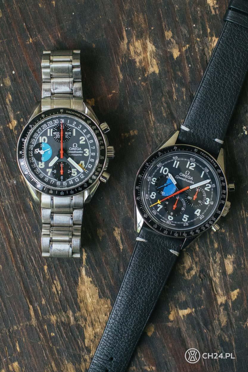 """Omega Speedmaster """"Hodinkee 10th Anniversary"""" Limited Edition (po prawej) i oryginalny Mark 40"""