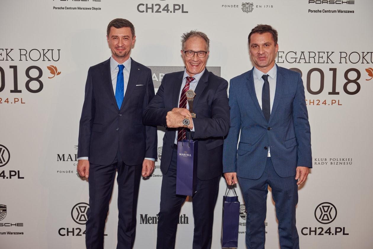Tomasz Kiełtyka (CH24.PL), Adrian Bosshard (CEO Certina) i Tomasz Kruk (Brand Manager Certina)