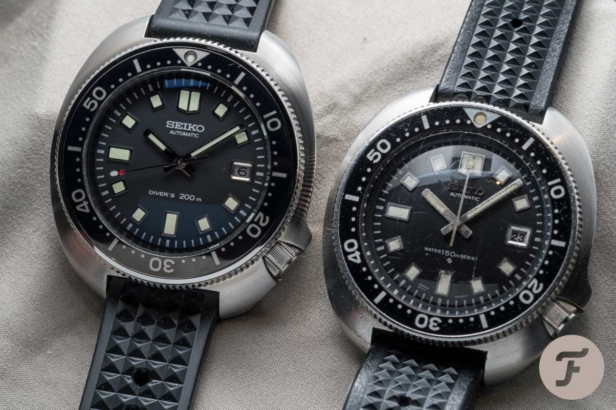 Seiko 1970 Diver's Re-creation Limited Edition SLA033 (po prawej) i oryginalne 6105-8110 / foto: Fratellowatches.com