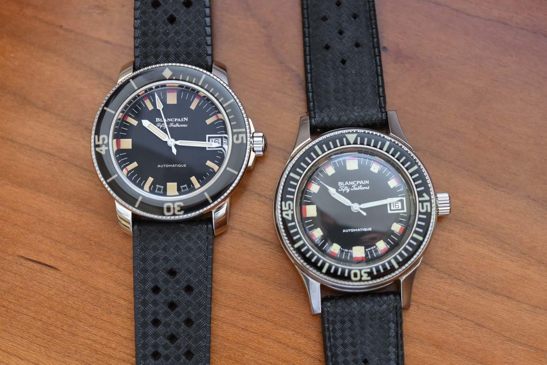 Blancpain Fifty Fathoms Barakuda: oryginał (po prawej) i reedycja / foto: Monochrome-watches.com
