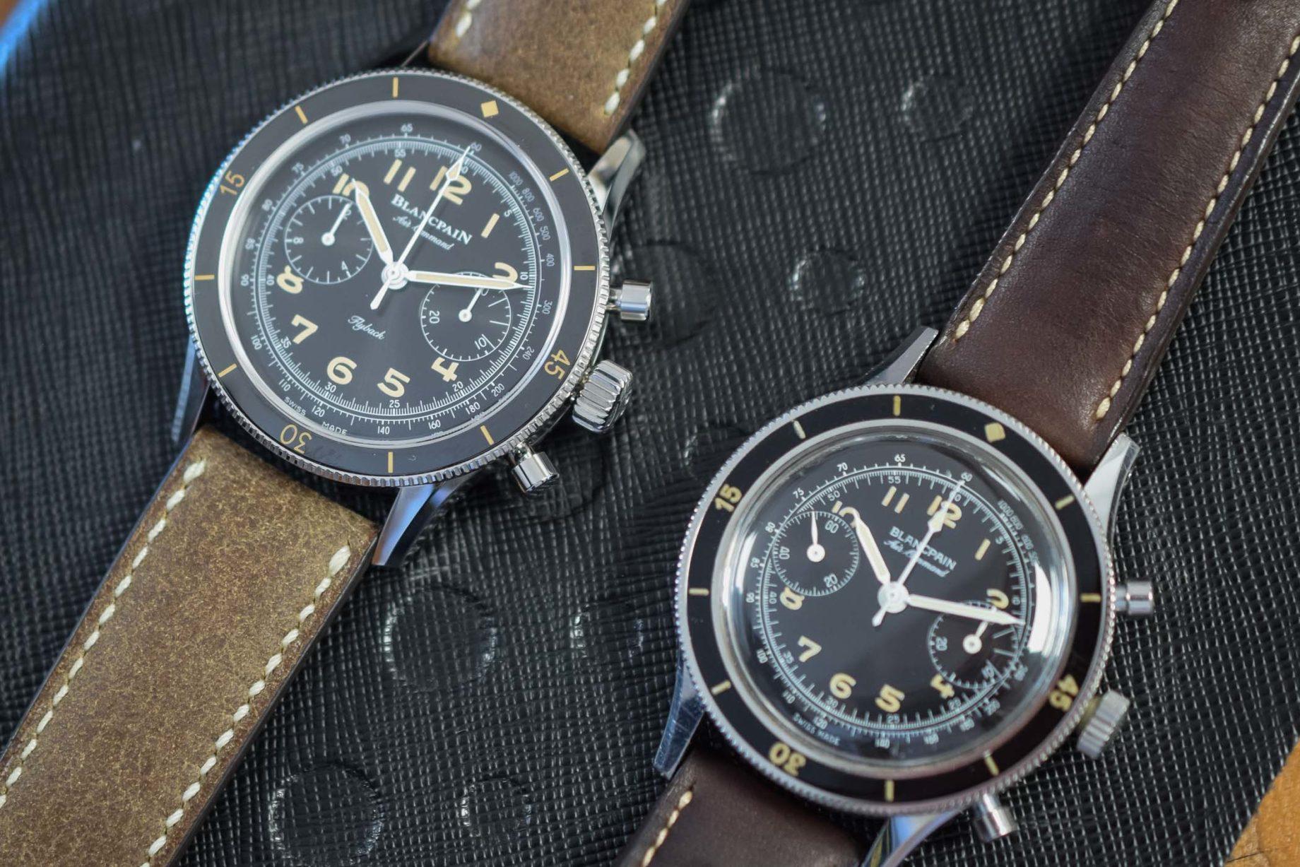 Blancpain Air Command: oryginał (po prawej) i reedycja / foto: Monochrome-watches.com