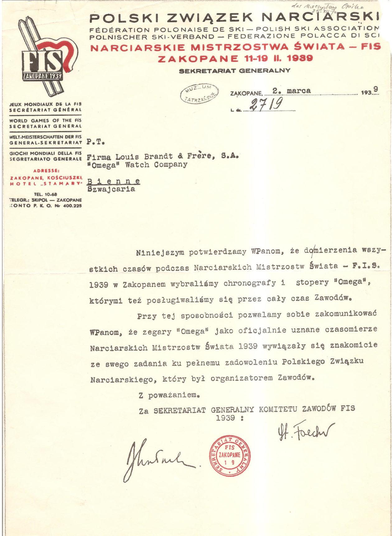 Podziękowania PZN dla firmy Omega / źródło: Muzeum Tatrzańskie w Zakopanem