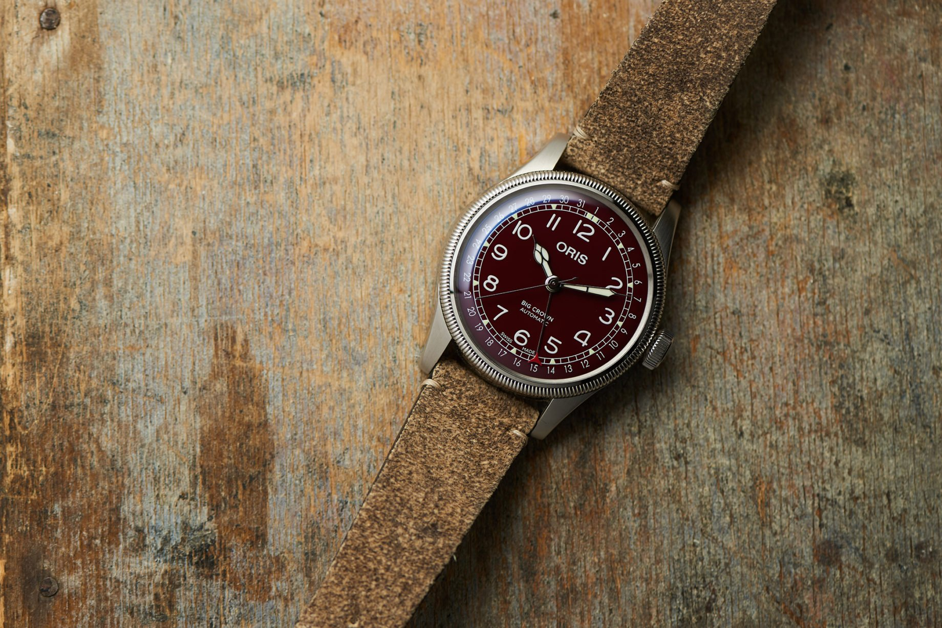 Oris Big Crown Pointer Date Burgundy