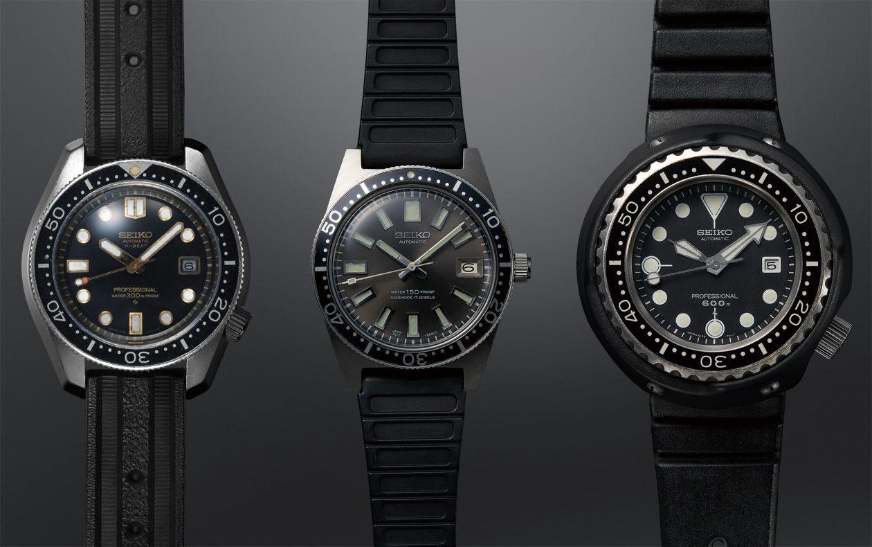 oryginalne referencje Seiko (od lewej): Hi-Beat Diver's 300m, 6MAS i Professional Diver's 600m