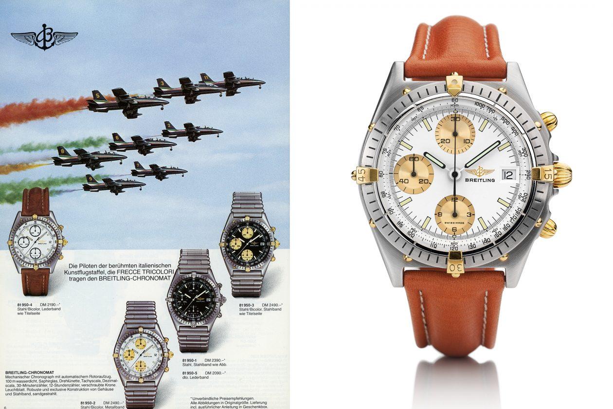 oryginalna reklama i pierwszy mode Breitling Chronomat z roku 1984