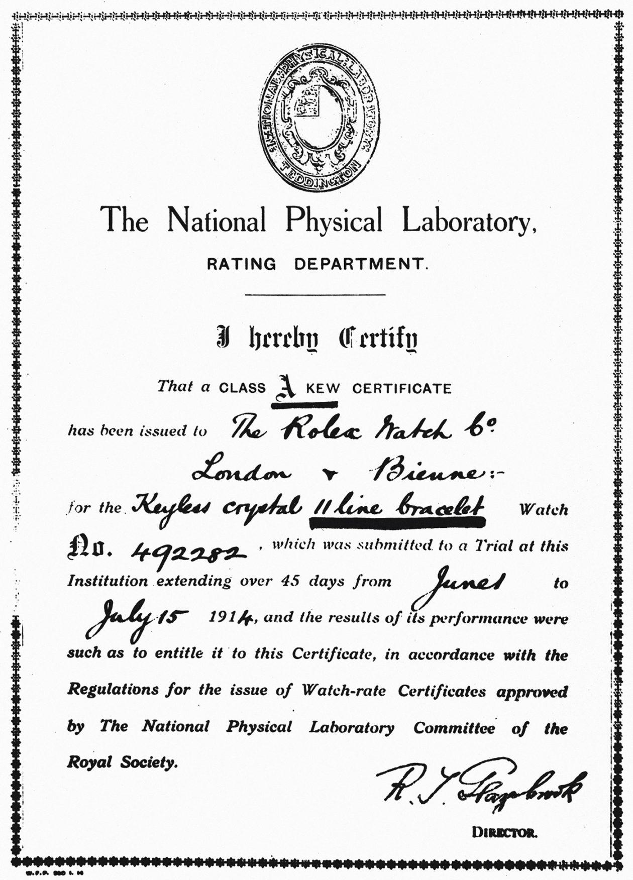 Certyfikat z 1914 roku przyznany firmie Rolex
