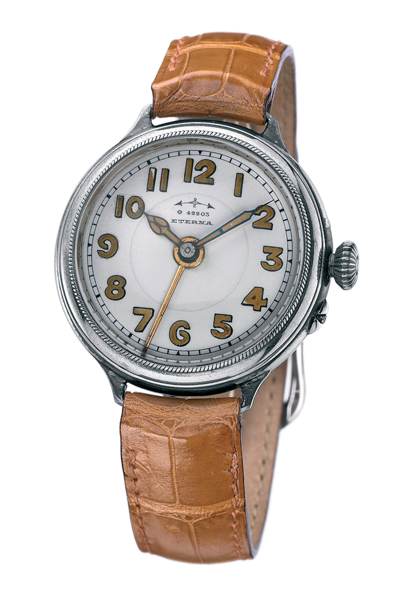 Pierwszy naręczny zegarek Eterna z alarmem z 1914 roku