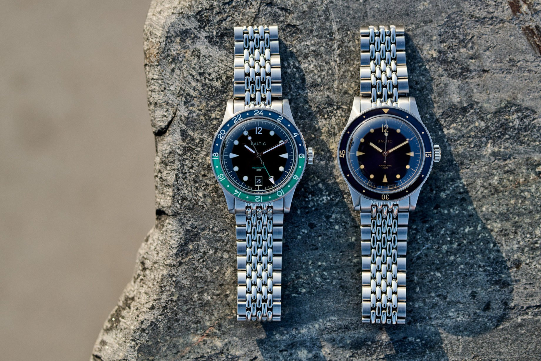 Baltic Aquascaphe GMT (po lewej) i Aquascaphe